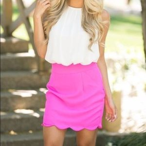 NWT Hot Pink Scallop Skirt